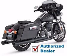 Vance & Hines Black Blackout Rounds Slip-On Mufflers Exhaust Harley Touring FLHT