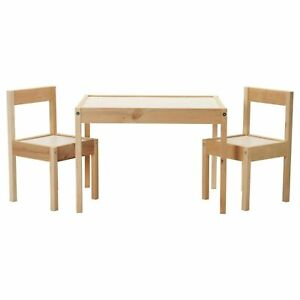 IKEA LATT CHILDREN'S CHAIR AND TABLE SET, WOODEN FURNITURE SET TABLE AND 2 CHAIR