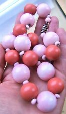 HUGE, STYLISH FRENCH VINTAGE ROUSSELET? FAUX CORAL GLASS & GALALITH NECKLACE
