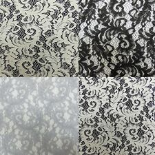 Raschel Floral Lace Polyester Dressmaking Fabric - black, white, grey, ivory