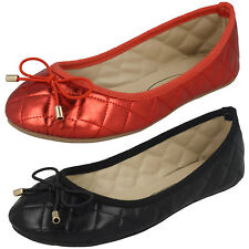 Girls Spot On Red Slip On Dolly Shoes With Bow UK Sizes 10 - 2 H2409