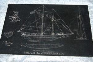 Vintage Slate Engraved Table Top Sailing Ship Isiah L. Jefferson Grand Banks