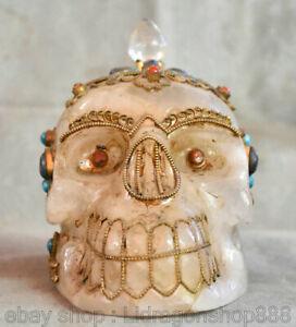 """6 """"cristal tibétain en filigrane d'or gemme tête de crâne de squelette humain"""