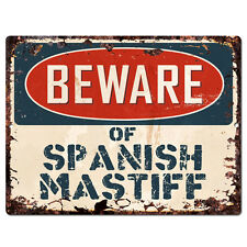 Ppdg0088 Beware of Spanish Mastiff Plate Rustic Tin Chic Sign Decor Gift