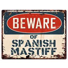PPDG0088 Beware of SPANISH MASTIFF Plate Rustic TIN Chic Sign Decor Gift