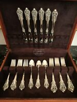 WALLACE GRANDE BAROQUE 26 PCS FOR 6 STERLING SILVER FLATWARE SERVICE SET