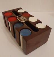 Vintage Poker Chip Set & Wood Caddy Holder Chips Red Blue White 1960's