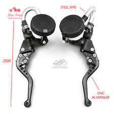 7/8'' Clutch Brake Levers Master Cylinder Reservoir Set Fit For Honda Motorcycle