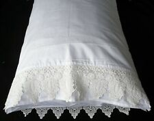 PillowCases (2) New White Embroidered Lace Cotton Sateen Queen King Pair S4#