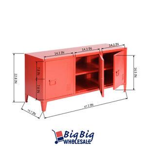 "Red Metal Locker 47"" TV Stand Office Organizer File Storage Cabinet Cupboard"