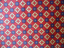 Cavenagh 100% Silk Red Tie with Small Blue and Beige Abstract Design