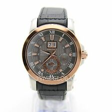 Seiko SNP114P2 Premier Kinetic Perpetual Calendar Black Leather Luxury Men Watch