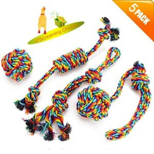 5Pcs Rainbow Dog Rope Toy Set Cotton Knot Rope Ball Bite Chew Interactive Toy