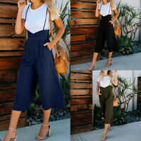 Women Fashion Halter Backless Rompers Tun Solid Zipper Long Camisole Jumpsuit LI