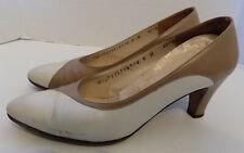 Vintage Ferragamo Shoes Light Brown White Leather 6 B