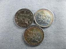 Lot 3 pièces 2 Francs Argent: 1901, 1902, 1904 TB/TTB