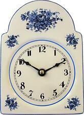 031120.01 Keramik Schwarzwalduhr Artline Blaurosen Blaurand hbm.Junghans Quarz