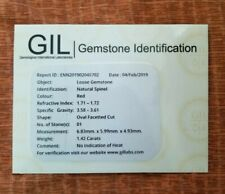 GIL Certified 1.42 Cts Natural Red Spinel Burma( Myanmar) Unheated Oval Cut Gem