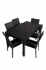 Sitzgruppe Gartenmöbel Tisch Poly Rattan Stuhl Esgruppe Sitzgarnitur Grau B-Ware