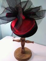 Vintage Deborah New York, Made In Usa, 100% Wool, Black & Red Designer Hat