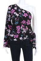 Backstage Womens One Shoulder Long Sleeve Blouse Black Pink Floral Size S