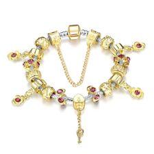 Gold Rose Flower Dangle Charms Bracelet Key Pendant Pink Rhinestone Bangle Gift