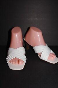 "Liz Clairborne Villager Sandals  White ""Sash"" Slip on Leather Shoes 8.5 Mules"