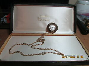 TIMEX CAVATINA NECKLACE WATCH-RUNS-WIND-UP-GOLD TONE-24'' CHAIN-WITH BOX