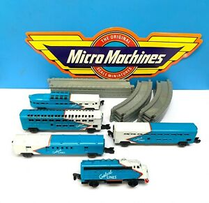 Micro Machines Blue American Passenger Train Set 1989 Vintage Galoob 12pc Track