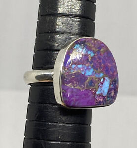 925 Sterling Silver Large Mojave Purple Turquoise Ringe Size 9 Indonesia