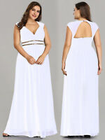 Ever-Pretty Plus Size Formal Bridesmaid Dress Long Chiffon Prom Dresses White