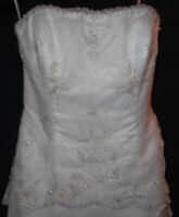 Size 24 Brandon Strapless Tiered & Beaded White Lace Wedding Dress Gown w/Train
