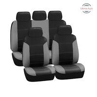 Universal Grey Black Heavy Duty Leather Look Car Seat Covers 9 Pcs Set
