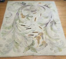 """Vintage Hooked Rug Beautiful Cat Tails 67"""" x 59"""" - Old Maine Estate"""