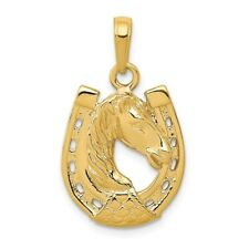 14K Yellow Or White Gold Horse Head In Horseshoe Pendant
