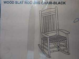 Black Wood Outdoor Rocking Chair by Hampton Bay