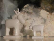 2  Renntiere aus Keramik weiss Weihnachtsdeko Deko Weihnachten Hirsch Reh modern