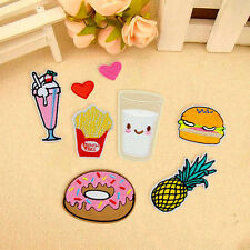 8Pcs Clothes Fabric Applique Donuts Fruit Embroidery Sew Iron On Patch Badge Bag