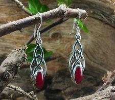 925 Sterling Silber, Keltische Ohrhänger mit Karneol, rot, mittel,Ohrringe,Stein