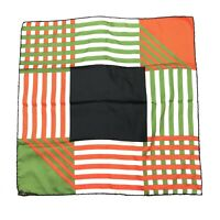Ashear 100% Silk Hand Rolled Pocket Square Handkerchief Patchwork Stripe • Italy