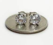 14k white gold 6 mm cubic zirconia push back stud earrings men, women & children