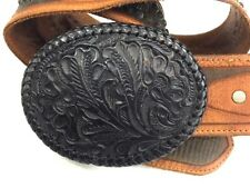 Ralph Lauren Collection Brown Tooled Concho Leather Black Buckle Belt Size Med