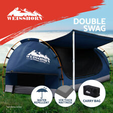 Weisshorn Double Swag Camping Swags Canvas Free Standing Dome Tent Dark Blue 7CM