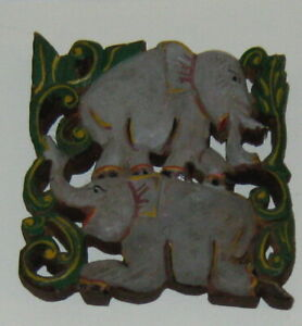ANTIQUE Carved wood ELEPHANT pair SCULPTURE temple wall BURMA Myanmar very FINE