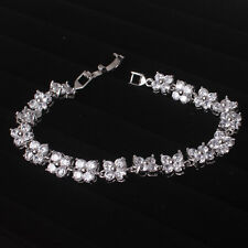 Stylish Sparkly Clear White Crystal Stones Silver Tennis Bracelet Bangle Jewelry