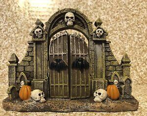 Fairy Gnome Village Accessories Fall Halloween Stone Fence Gate skulls Bats NEW