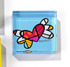 ✿ ROMERO BRITTO ✿ SQUARE PAPERWEIGHT: FLYING  HEART  ** NEW **