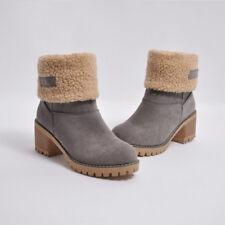 Women Winter Ankle Boots Snow Suede Fleece Block Mid Heel Pull On US 7.5-9.5