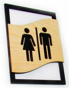 WC Toilet sign pictograms, male, female, diasbled, shower, wooden modern loft