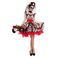 Women's Day Of The Dead Costume Sugar Skull Bride Dress Dia de Muertos S M L XL